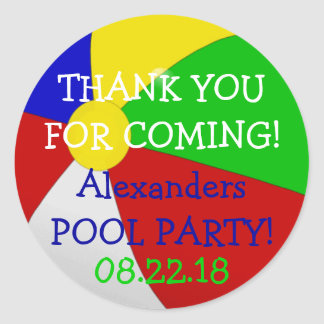 Beach Ball Pool Party Thank You Classic Round Sticker