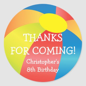 kat_parrella Beach Ball Pool Party Thank You Sticker