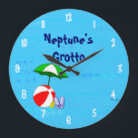 "Beach Ball Pool Toys Custom Clock White Numbers<br><div class=""desc"">A custom clock with fun art of essential toys for the beach or the pool a red beach ball,  green umbrella,  sandals and suntan oil on a blue background with curly waves and optional white numbers. Click Customize It to change fonts,  colors,  even save your design for later.</div>"