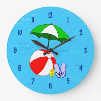 Beach Ball Pool Toys Wall Clock Blue Numbers