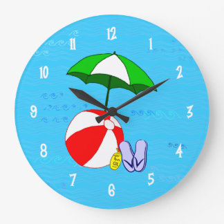 Beach Ball Pool Toys Wall Clock White Numbers