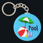 "Beach Ball Pool Umbrella Blue Waves Pool Key Chain<br><div class=""desc"">A pool keychain with retro blue letters and fun beach or swimming pool themed art of a red beach ball,  green sun umbrella,  vacation sandals and suntan oil  on a watery blue background with curly waves.</div>"