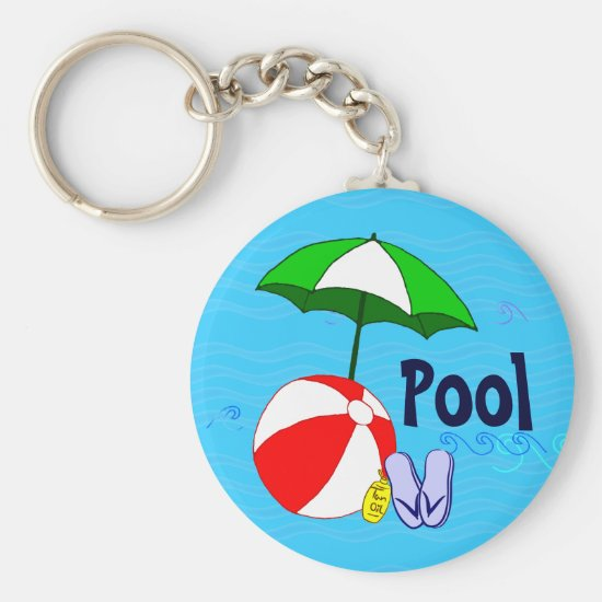 Beach Ball Pool Umbrella Blue Waves Pool Key Chain