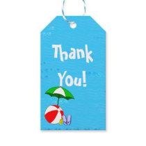Beach Ball Pool Umbrella Custom Thank You Tag