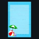 """Beach Ball Pool Umbrella Lined Stationery<br><div class=""""desc"""">Fun beach or swimming pool themed art of a red beach ball,  green sun umbrella,  vacation sandals and suntan oil on a teal blue wavy background with cute curly waves and optional lines.</div>"""