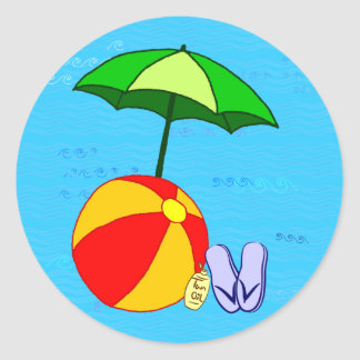 Beach Ball Pool Umbrella Sticker