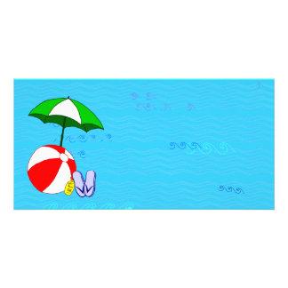 Beach Ball Pool Umbrella Template Photo Greeting Card