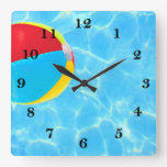 Beach Ball Square Wall Clock at Zazzle