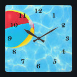 "Beach Ball Square Wall Clock<br><div class=""desc"">Beach Ball</div>"