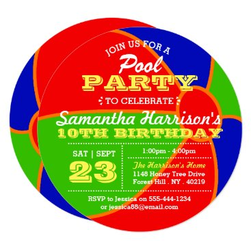 Beach Themed Beach Ball Summer Pool Party Birthday Invitations
