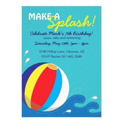 Beach Ball Swimming Birthday Pool Party Invitation
