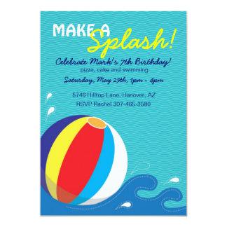 "Beach Ball Swimming Birthday Pool Party Invitation 5"" X 7"" Invitation Card"