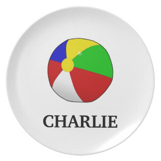 Beach Ball Toddler Plate with Name