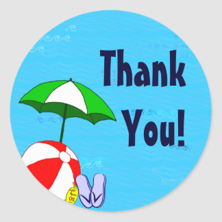 Beach Ball Umbrella Custom Thank You Sticker