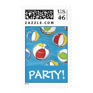 Beach Balls Party Postage Stamp stamp