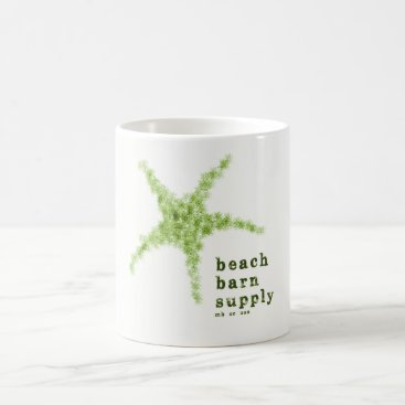 Beach Themed Beach Barn Supply Starfish Mug, Green Coffee Mug