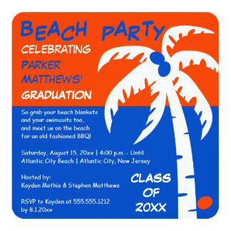 Beach BBQ Palm Tree and Coconut Graduation Card