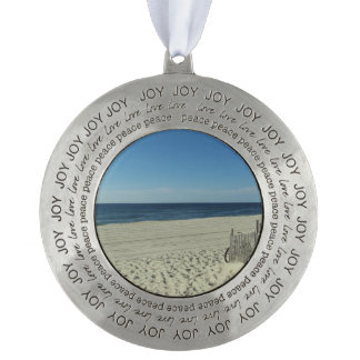 Beach Beauty Round Pewter Christmas Ornament