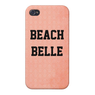 Beach Belle: Coral Pink Grunge Print iPhone 4 Case
