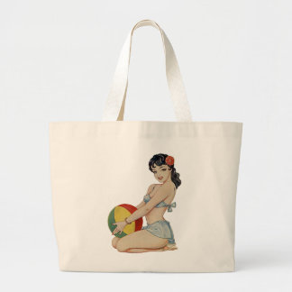 Beach Belle - Vintage Pin-Up Girl Large Tote Bag