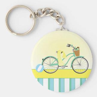 Beach Bicycle Basic Round Button Keychain