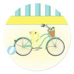 Beach Bicycle Classic Round Sticker