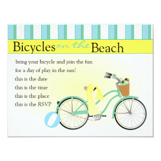 Beach Bicycle 4.25x5.5 Paper Invitation Card