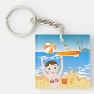 Beach bikini girl has a birthday party keychain