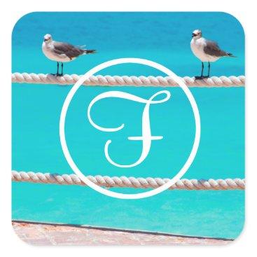 Beach Themed Beach birds photo custom monogram square sticker