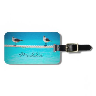"Beach Themed Beach birds photo ""your name here"" luggage tag"
