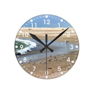 Beach Birds Round Clock