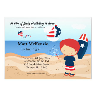 Beach Birthday Independence day party Card