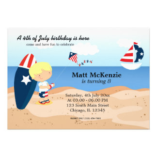 Beach Birthday Independence day party Personalized Invitation