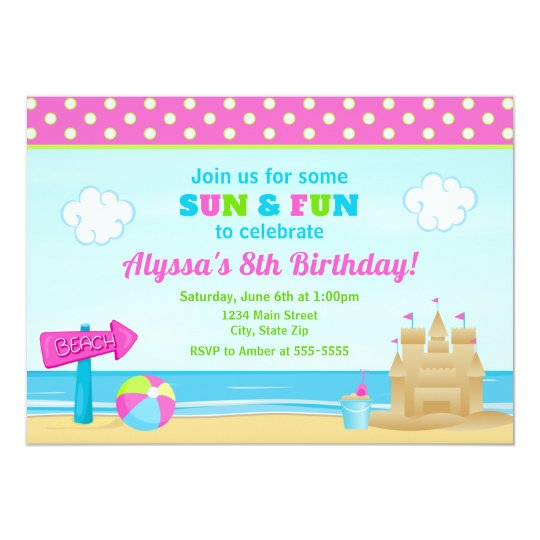 Beach birthday invitation beach party girl zazzle beach birthday invitation beach party girl filmwisefo