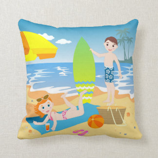 Beach birthday party for kids throw pillow