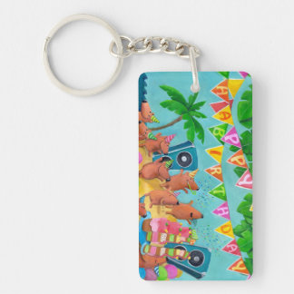 Beach Birthday Party Keychain