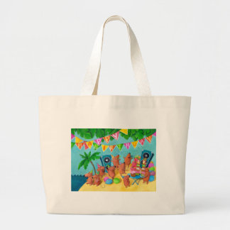 Beach Birthday Party Large Tote Bag