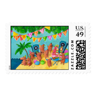 Beach Birthday Party Postage Stamp