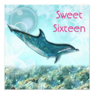 Beach birthday party tropical dolphin invitation