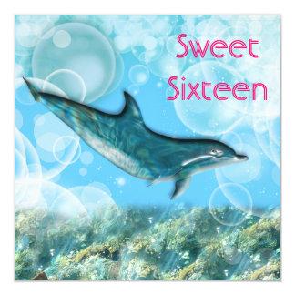 "Beach birthday party tropical dolphin 5.25"" square invitation card"