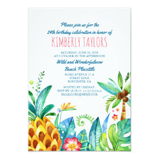 Beach Birthday Party Tropical Pineapple Palms Card
