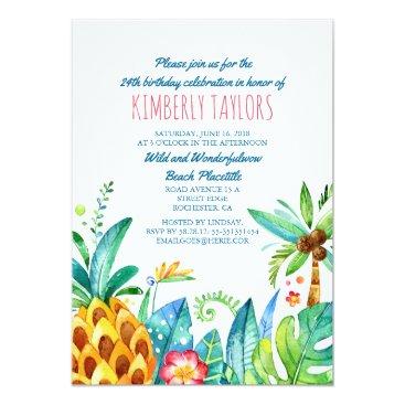 lovelywow Beach Birthday Party Tropical Pineapple Palms Card