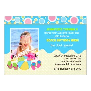 Beach Themed Beach Birthday Photo Card