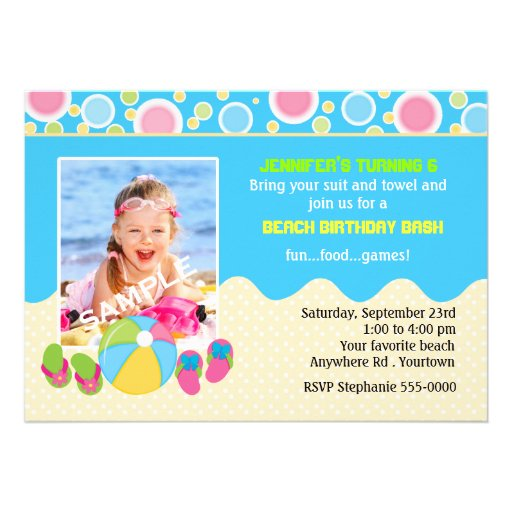 Beach Birthday Photo Custom Announcement