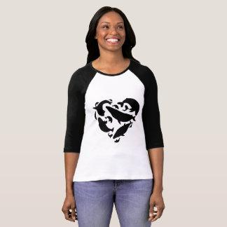 Beach black and white heart whales T-Shirt