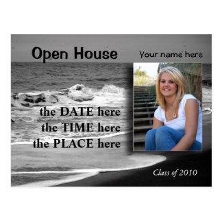 beach black and white open house postcard