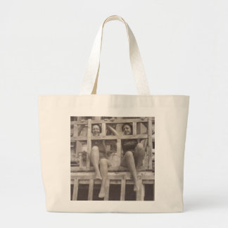 Beach black and white vintage photo Cannes 1930s Large Tote Bag