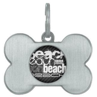 Beach; Black & Dark Gray Stripes Pet Name Tag