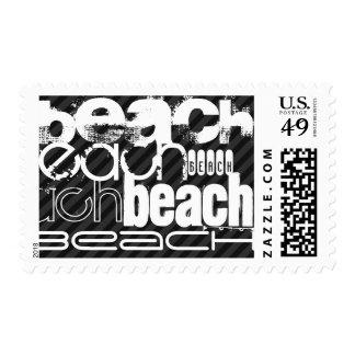 Beach; Black & Dark Gray Stripes Postage