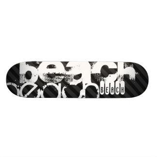 Beach; Black & Dark Gray Stripes Custom Skate Board